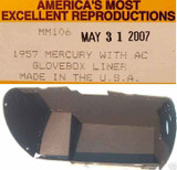 1957 MERCURY MONTEREY MONTCLAIR GLOVE BOX LINER BLACK