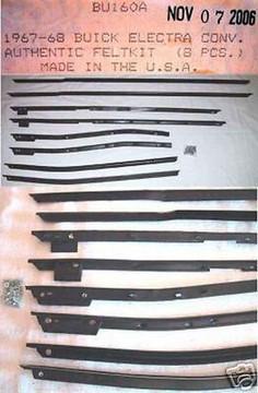 1967-1968 BUICK ELECTRA CONVERTIBLE WINDOW WEATHERSTRIP KIT, 8 PIECES