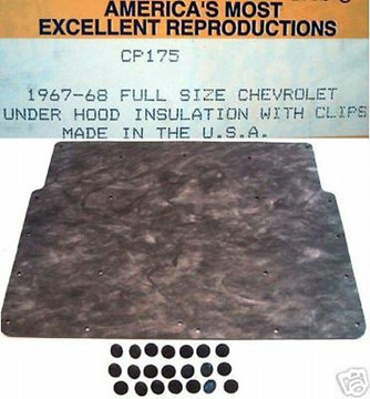 1967  FULL SIZE CHEVY HOOD INSULATION KIT INCLUDES CLIPS