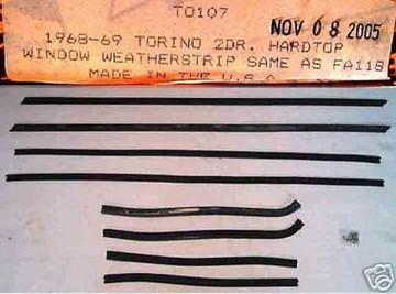 1968 1969 FAIRLANE TORINO HARDTOP WINDOW WEATHERSTRIP