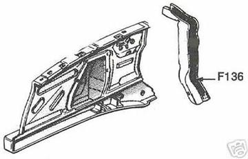 1964-1965 FALCON V8, COMET FENDER at COWL SPLASH SHIELD