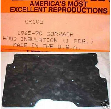 1966-1969 CHEVY CORVAIR REAR DECK LID HOOD INSULATION PAD, WITH CLIPS