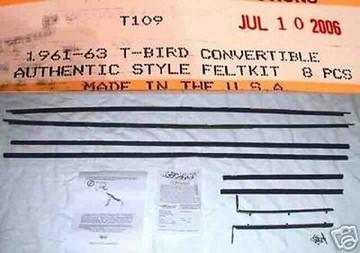 61 62 63 THUNDERBIRD CONVERTIBLE WINDOW WEATHERSTRIP