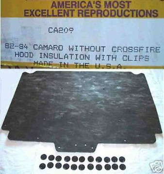1982-1984 CHEVROLET CAMARO  without CROSSFIRE HOOD INSULATION KIT INCLUDES CLIPS