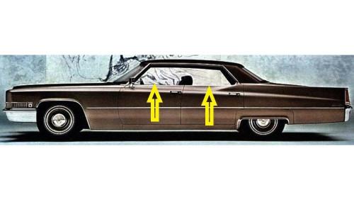 1967-1968 Cadillac Calais /& DeVille 4 door hardtop rear door weatherstrip seals