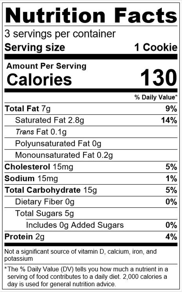 Cookie Nutrition Facts