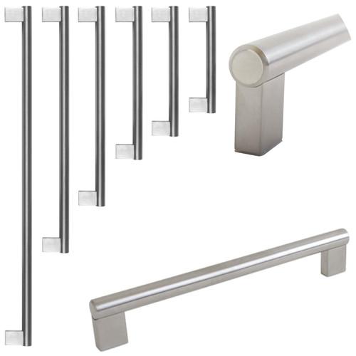 Dihl Square Brushed Steel Kitchen Cupboard Cabinet Drawer Door Handles 5 Sizes