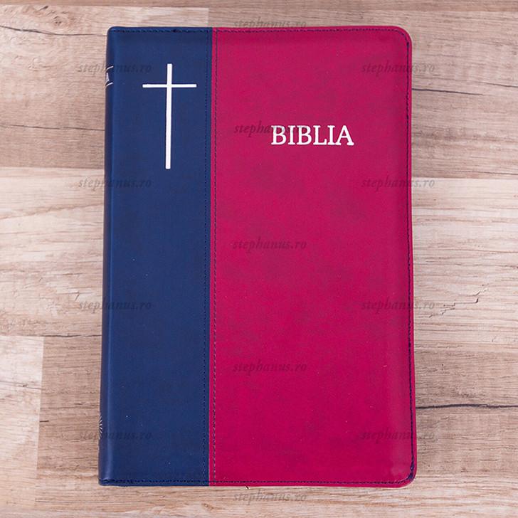 Biblia Cornilescu  cu fermoar (Rosu/Albastru)