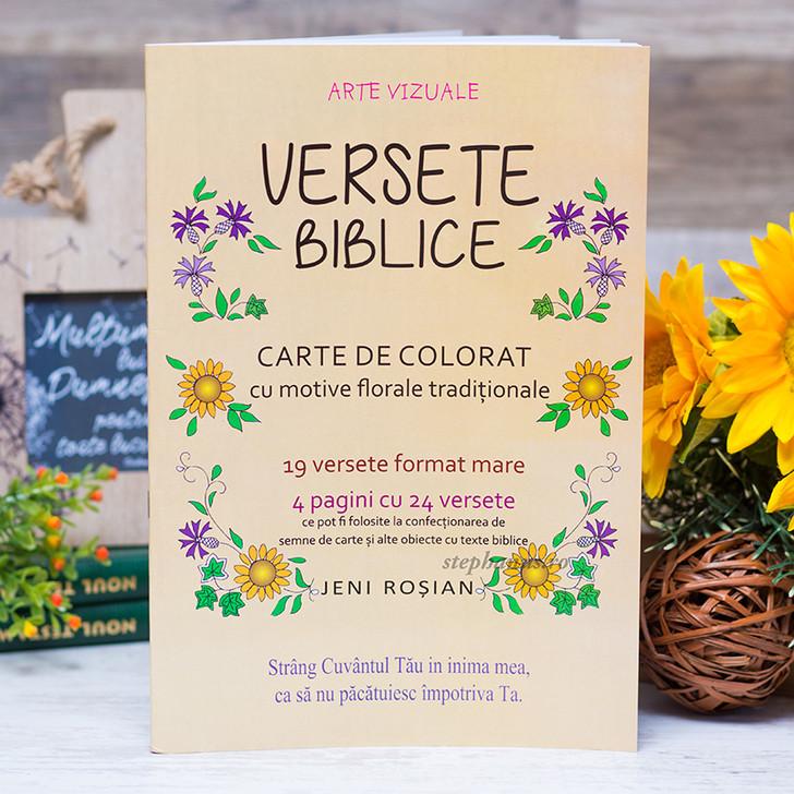 Versete biblice - carte de colorat cu motive florale