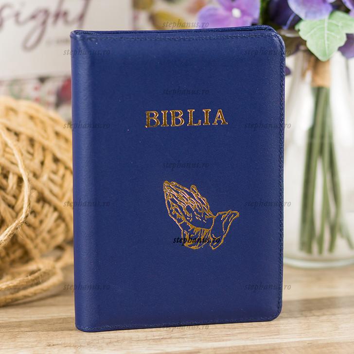 Biblia medie  piele+fermoar (albastra)