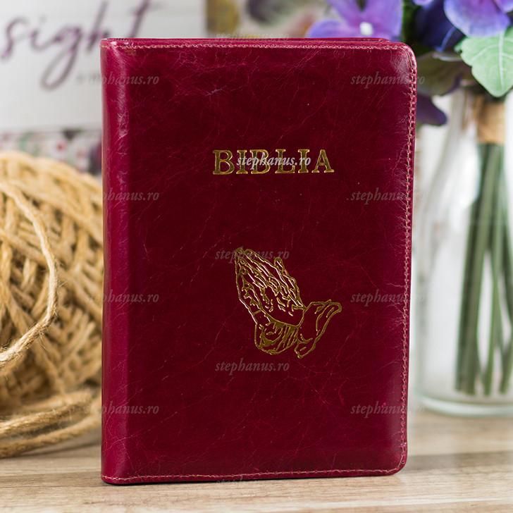 Biblia medie  piele+fermoar (visiniu)