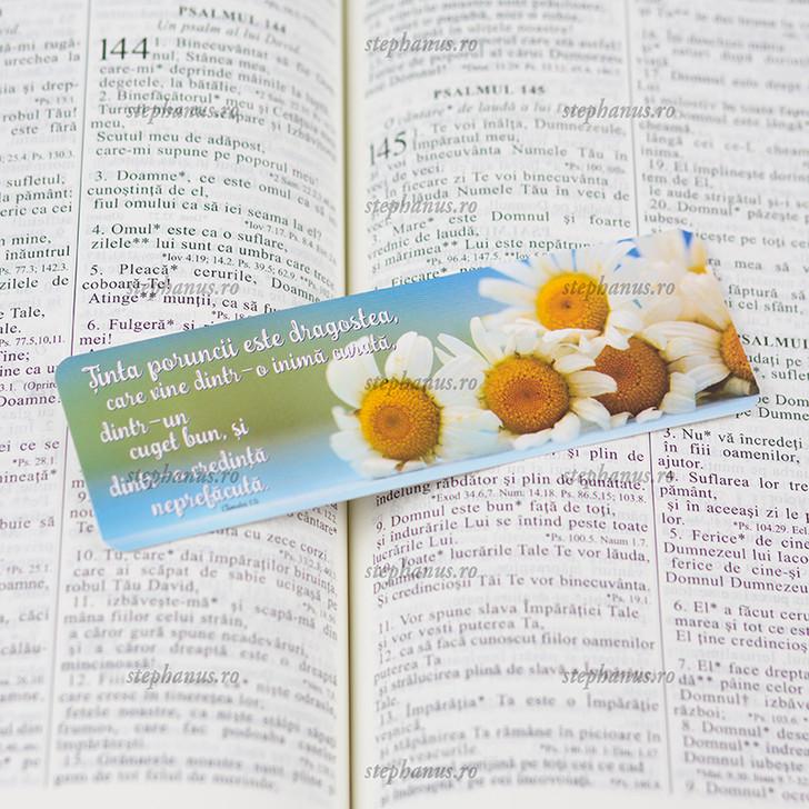 Semn carte - Tinta poruncii este dragostea 1 Tim. 1.5 (flori)