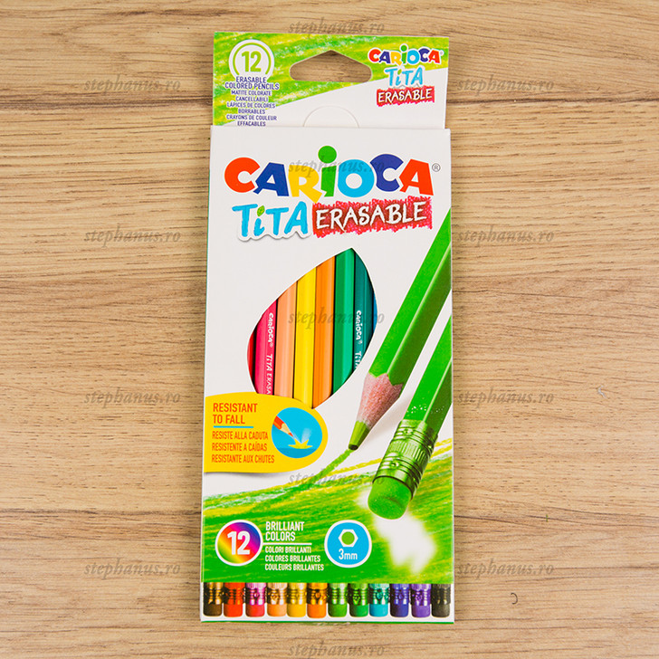 Creion 12 culori radiera CARIOCA