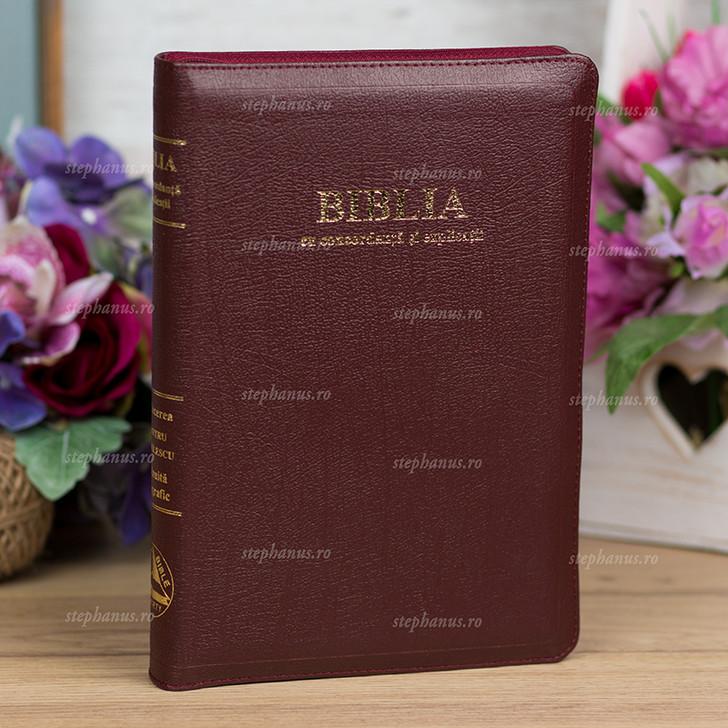 Biblia - concordanta si explicatii din piele cu fermoar