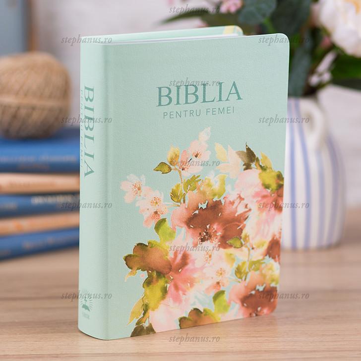Biblia pentru femei Turcoaz Floral MICA