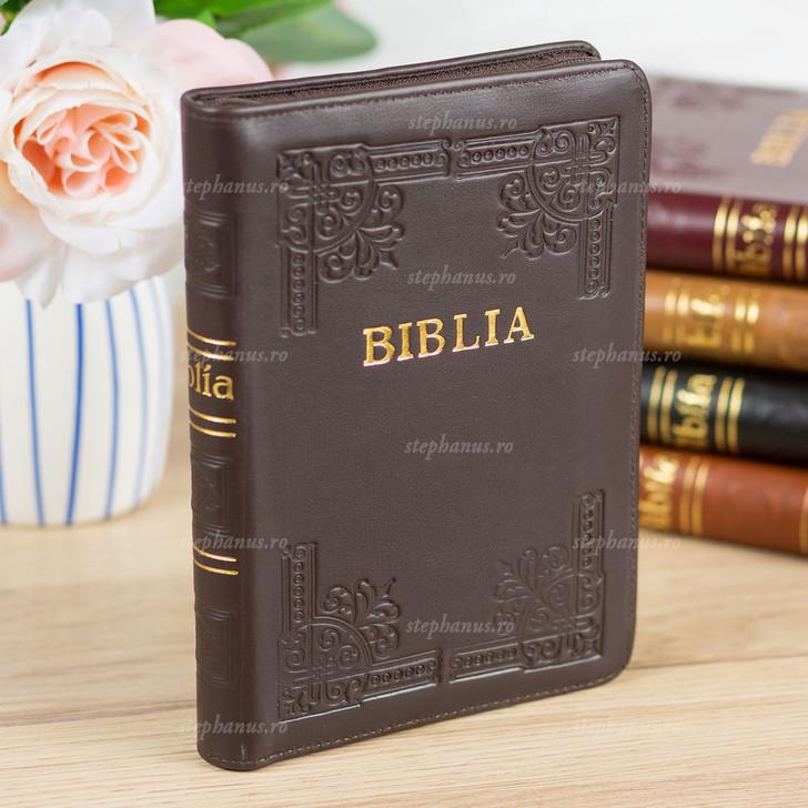 BIBLIA cu fermoar - piele / format mijlociu / Maro inchis