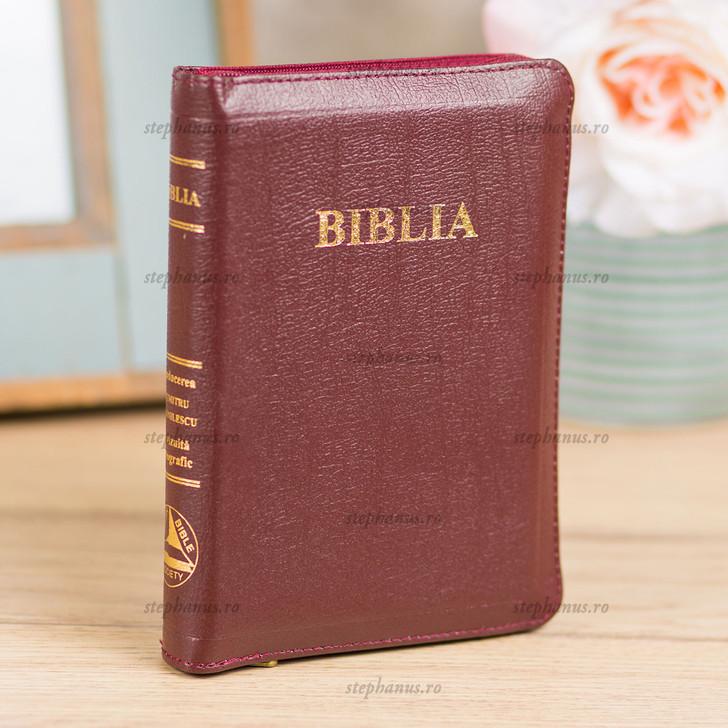 Biblia mica din piele cu fermoar / aurita cu index / Visiniu
