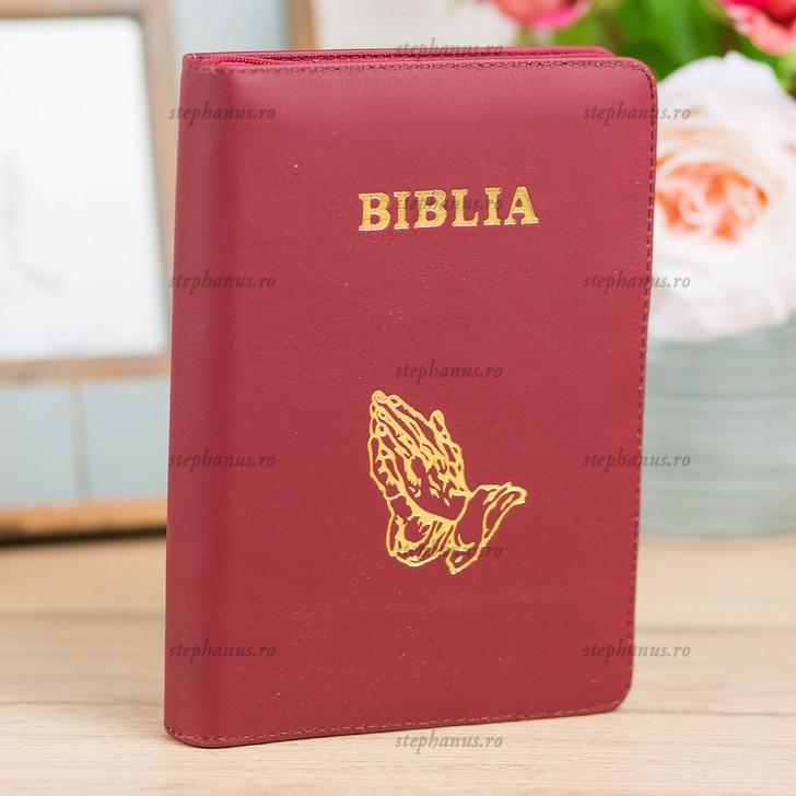 Biblia medie - piele/fermoar - Visiniu