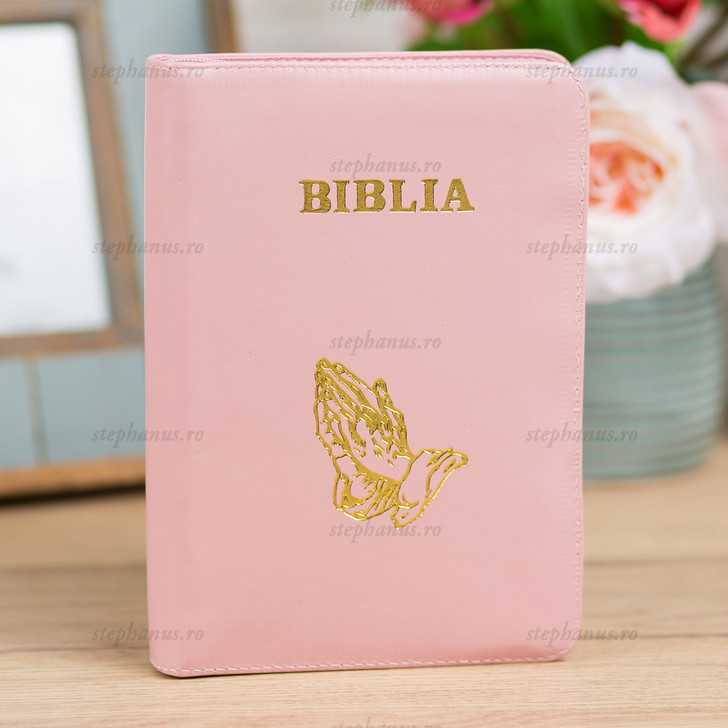 Biblia medie - piele/fermoar - Roz