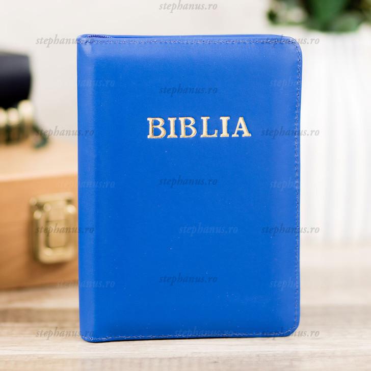 BIBLIA format mic cu fermoar - piele, auriu si index / albastru