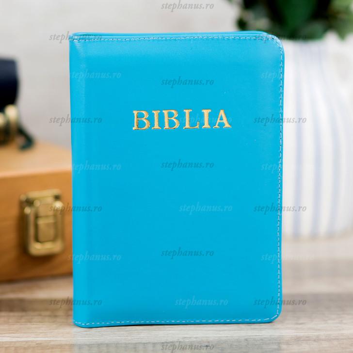 BIBLIA format mic cu fermoar - piele, auriu si index / Bleu deschis