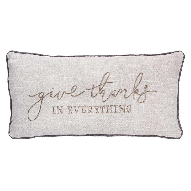 Perna decorativa dreptunghiulara cu mesaj /  Give Thanks In Everything