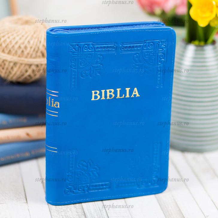 BIBLIA cu fermoar - piele / format mijlociu /Bleumarin