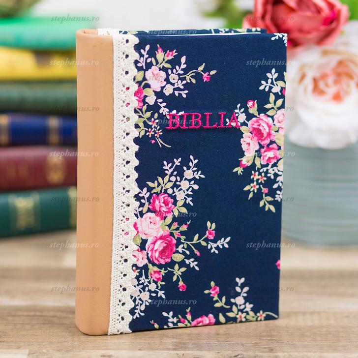 Biblia Sbr Handmade - Floral Crem/Bleumarin - 053 Hm
