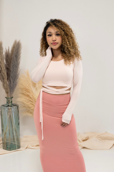 DEMI CROPPED TIE TOP - POWDER PINK