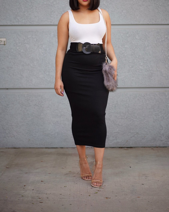 Bella Belted Maxi Skirt - Black