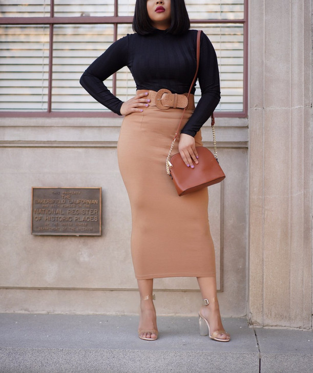 Bella Belted Maxi Skirt - Tan