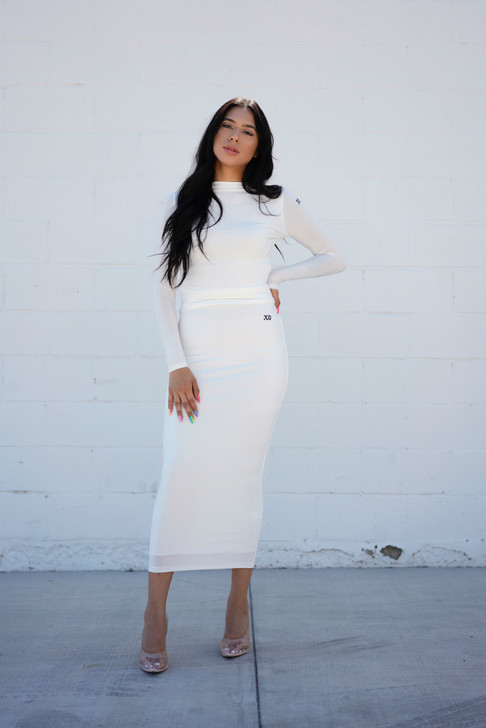 THE HOUR GLASS MAXI SKIRT - IVORY