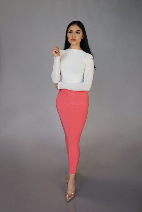 LUSTER MAXI SKIRT - CORAL