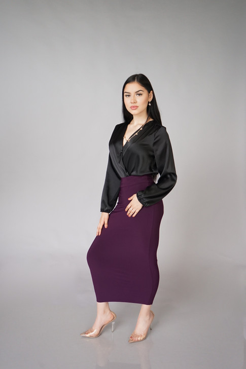 LUXE MAXI SKIRT - DEEP PLUM