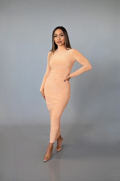 TIMELESS RUCHED MAXI DRESS - NECTAR