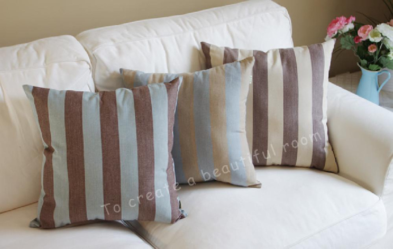 Tangdepot Decorative Handmade Stripe Cotton Throw Pillow Cover Pillow Sham Euro Sham Tangdepot