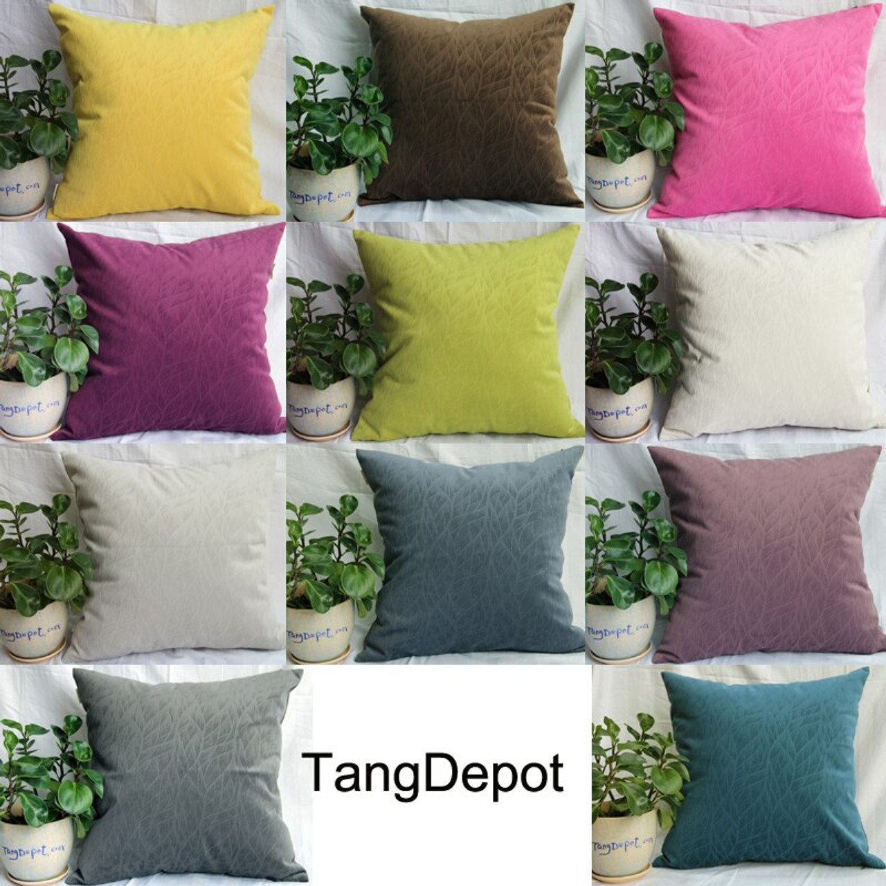 TangDepot Solid Velvet Decorative Pillow Covers/Euro Pillow shams, Super Soft Velour, Micro embossed Leaf texture and shape