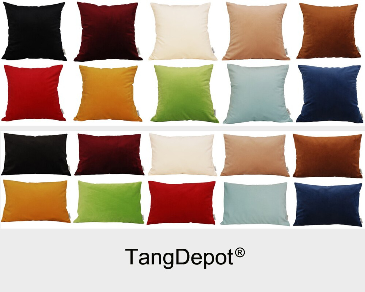 Tangdepot Solid Velvet Throw Pillow Cover Euro Sham Cushion Sham Super Luxury Soft Pillow Cases Many Color Size Options Tangdepot