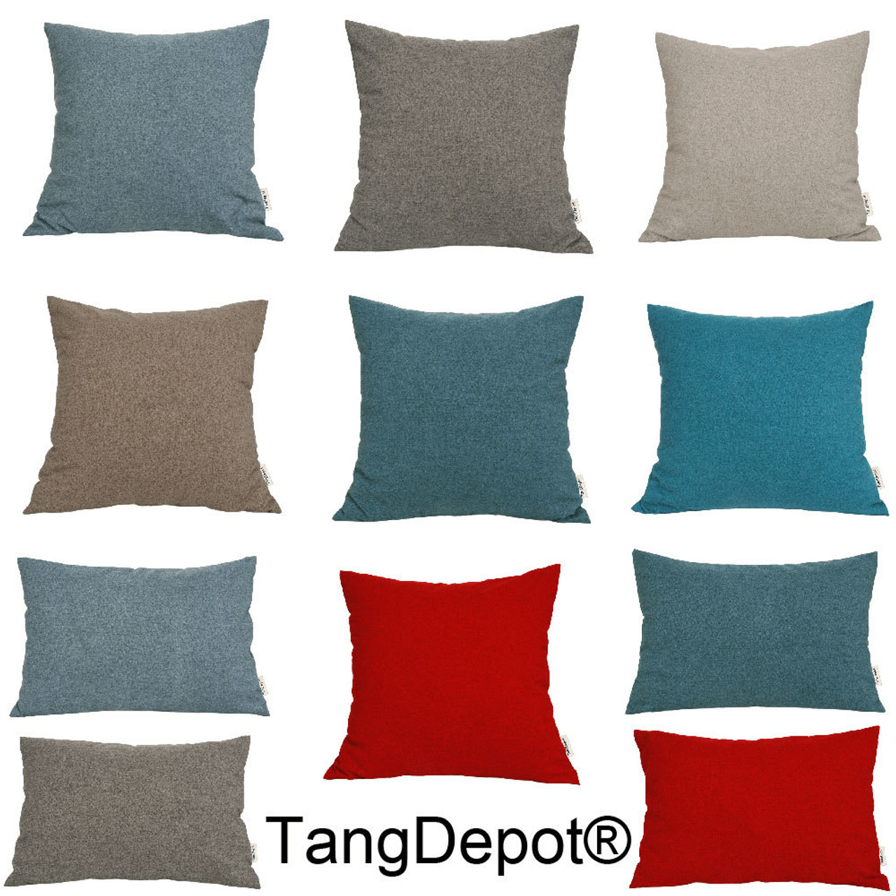 TangDepot Solid Wool-like Throw Pillow Cover/Euro Sham/Cushion Sham, Super Luxury Soft Pillow Cases - Handmade - Many Colors & Sizes Avaliable