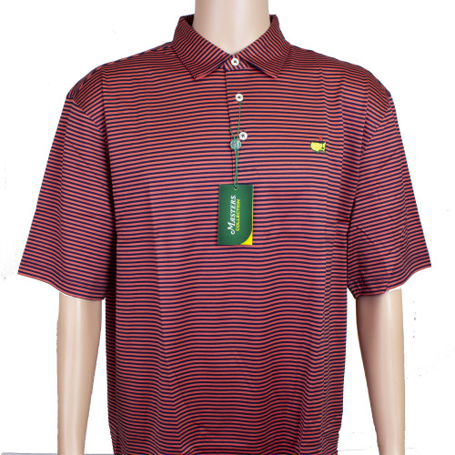 Masters Coral and Navy Striped Jersey Polo