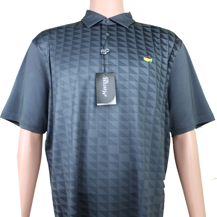 Masters Tech Golf Polo - Black & Light Grey Pattern