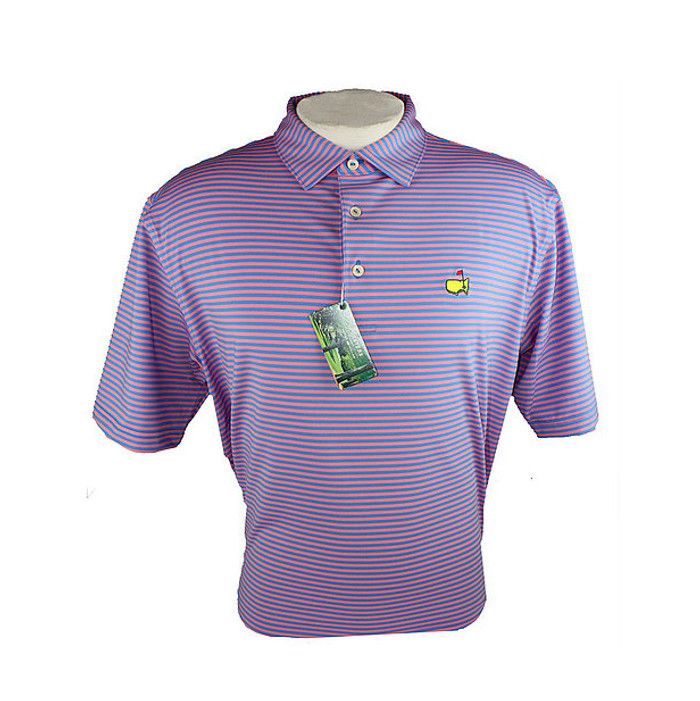 Masters Tech Golf Polo- Light Blue & Pink Striped