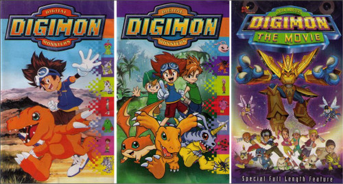 Digimon Digital Monsters Anime Cartoon VHS Lot - Movie + Vol. 1 & 2 - (3 VHS Tapes)