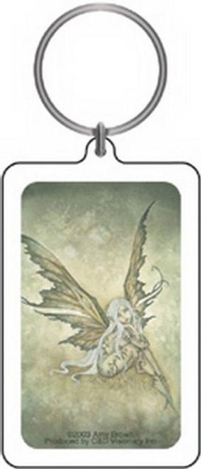 Amy Brown Green Sprite Lucite Keychain K-0924