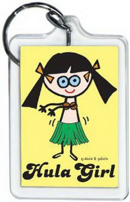 David and Goliath Hula Girl Lucite Keychain 65347KEY