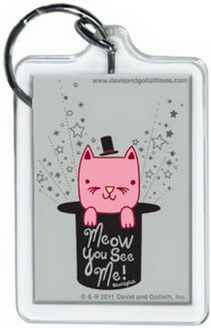 David and Goliath Meow You See Me Lucite Keychain 65771KR