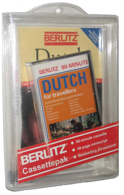 Berlitz 90-Minute Dutch For Tavellers Book & Vintage Audio Cassette