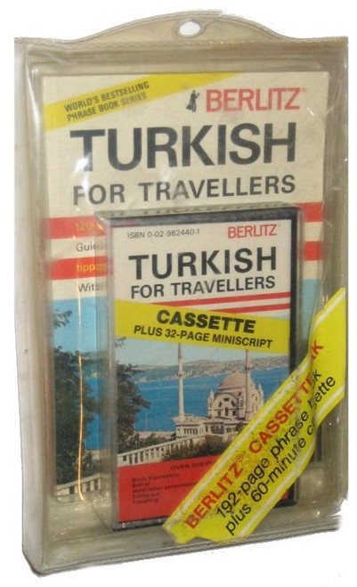 Berlitz 60-Minute Turkish For Tavellers Book Vintage Audio Cassette + 32-Page Manuscript