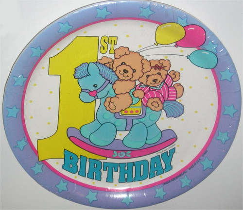 Baby's First Birthday Plate Pack - Rocking Horse & Bears (The Fraser Collection) - 8 Plates