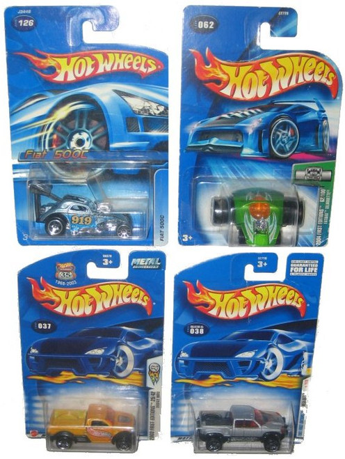 Hot Wheels Toy Car Lot : (Fiat 500C #126 / Dodge M80 #037 / Mega Duty #038 / Fatbax Silhouette #062) - (4 Cars)